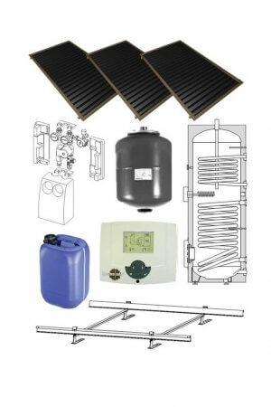 3 saules kolektoru sistēma komplekts boileris